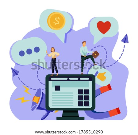 Content management system. Software engineering, database programming. CMS development, PHP & MySql development, information architecture metaphors. Vector isolated concept metaphor illustrations.