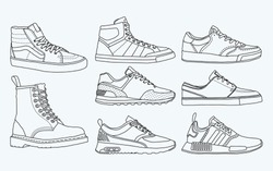 8 COOL shoes, sneakers, vector, sketch, draw set