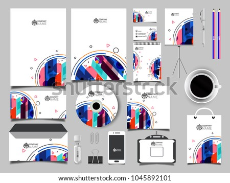 Corporate Business Kit abstract waves. Business Kit including Letter Head, Business Card, Web Banner or Header, Notepad, CD, USB Flash Drive and Envelope,