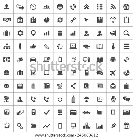 100 corporate icons, black on square white background