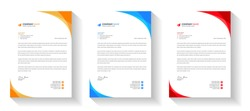 corporate modern letterhead design template set with yellow, blue and red color. creative modern letter head design templates for your project. letterhead design. letter head design.