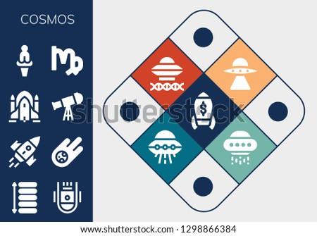 cosmos icon set. 13 filled cosmos icons. Simple modern icons about  - Rocket, Spacing, Space capsule, Meteorite, Rocket ship, Telescope, Venus, Virgo, Aliens, Ancient aliens