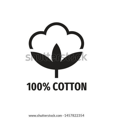 100% cotton - web black icon design.  Natural fiber sign. Vector illustration.