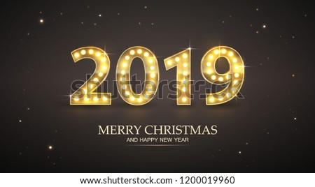 2019 Count Numbers For Greeting Card Merry Christmas and Happy New Year. Shine and Light Bulb For Design Vector.