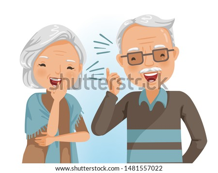 Couple elderly laughing together. Cheerful senior. Portrait of handsome and beautiful grandmother and grandfather in emotion relaxing.  Vector illustrations isolated on white background.
