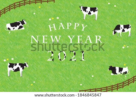 2021 Cow New Year's card: Cows relaxing on the ranch.
