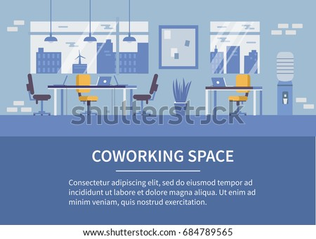 Coworking office background with text place. Flat style vector illustration.