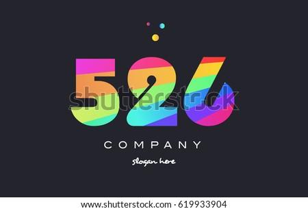 526 creative color green orange blue magenta pink number digit company logo vector icon spectrum