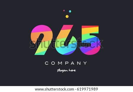 965 creative color green orange blue magenta pink number digit company logo vector icon spectrum