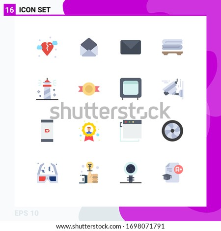 16 Creative Icons Modern Signs and Symbols of sea; lighthouse; mail; beach; towels Editable Pack of Creative Vector Design Elements Foto stock ©
