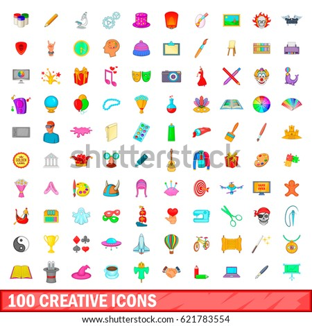 100 creative icons set in