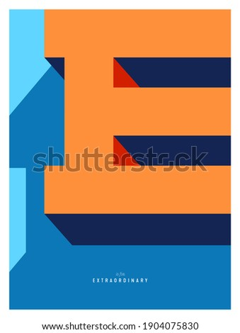 Creative Minimalist Poster with Letter E for Wall Decoration or Postcard. E is for EXTRAORDINARY. Vector EPS10. Stockfoto ©