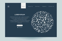 Creative Modern Website template design ,Contain Random Arabic calligraphy Letters Without specific meaning in English ,Vector illustration.