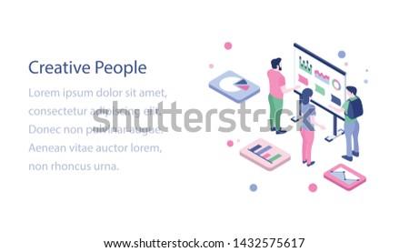 Creative people team isometric design  #1432575617