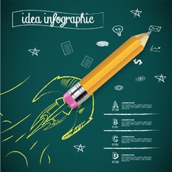 creative rocket idea form pencil infographic elements.