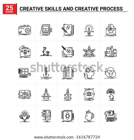 25 Creative Skills And Creative Process icon set. vector background