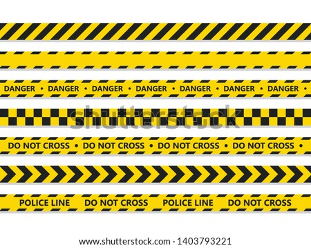 Crime line tape. Police danger caution vector yellow barrier. Not cross security line
