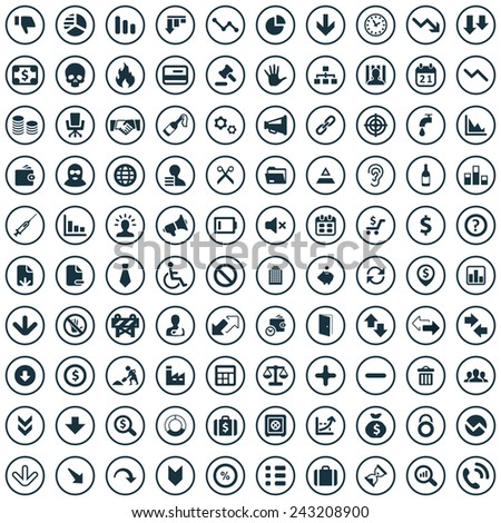100 crisis icons big universal set