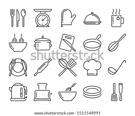 20 Culinary icons. Kitchen and Cooking line icon set. Vector illustration. Stock photo ©