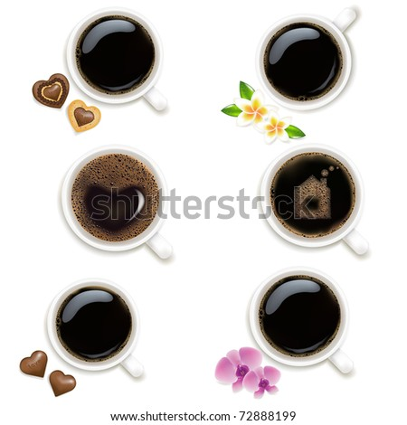 6 Cups From Coffee, Isolated On Vintage Background, Vector Illustration