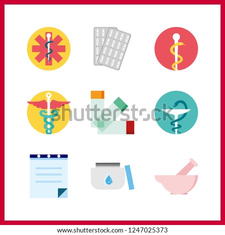 9 cure icon. Vector illustration cure set. medicine and prescription icons for cure works