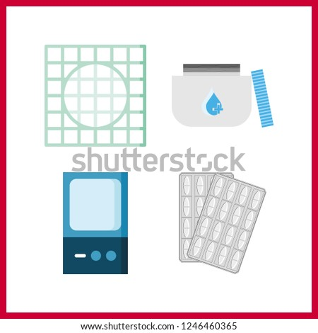 4 cure icon. Vector illustration cure set. medicine icons for cure works