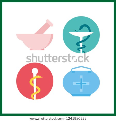 4 cure icon. Vector illustration cure set. mortar and medicine bag icons for cure works