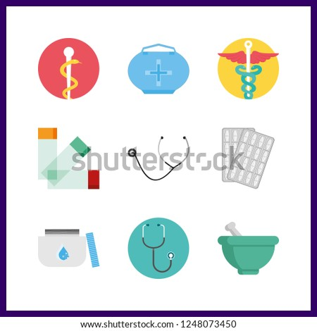 9 cure icon. Vector illustration cure set. pharmacy and medicine icons for cure works