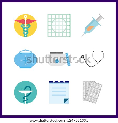 9 cure icon. Vector illustration cure set. prescription and pharmacy icons for cure works