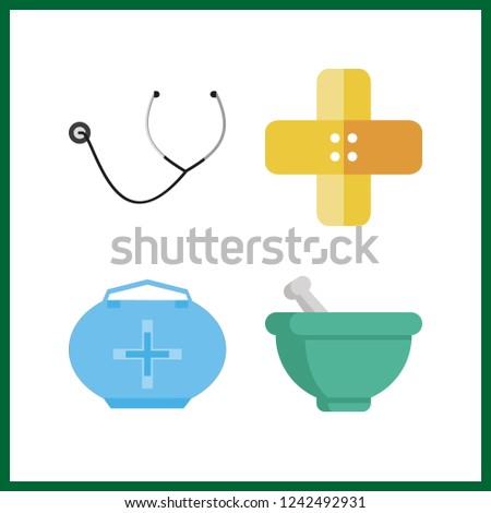4 cure icon. Vector illustration cure set. stethoscope and medicine bag icons for cure works