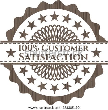 100% Customer Satisfaction retro wooden emblem