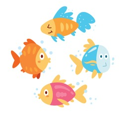 4 cute and funny cartoon fishes