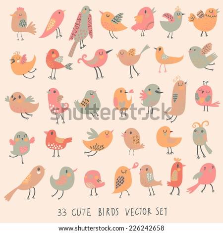 33 cute birds in pastel pink
