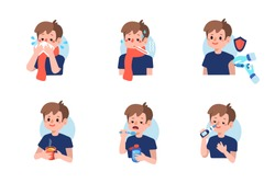 Cute boy with  flu disease and treatment.  Flat cartoon vector illustration isolated on white background.