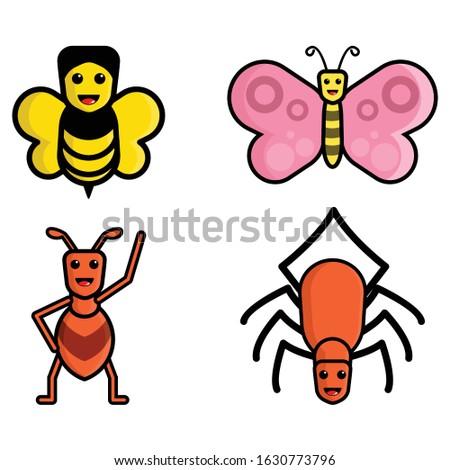cute cartoon bee  butterfly