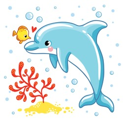 Cute cartoon dolphin. Love  Dolphin on a white background. Vector illustration.