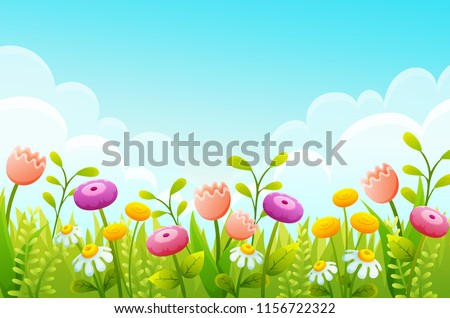Cute cartoon flowers in green grass border. Pink tulips, chamomile and yellow buds. Spring scene with blue sky ans clouds. Vector illustration. #1156722322