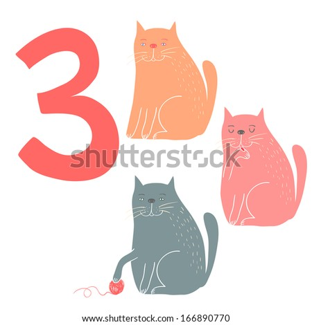 3 cute cats. Easy Learn to count figures. Funny cartoon childish illustrations in vector.