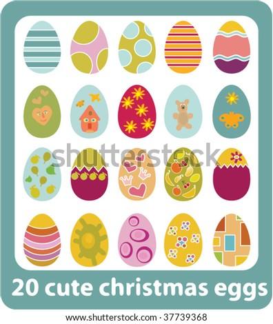 20 cute christmas eggs. vector