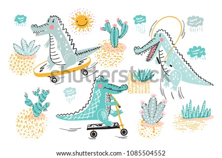 Cute Crocodile Vector set. Alligators and cactuses, rain clouds and sun. Cartoon Wild Animals collection