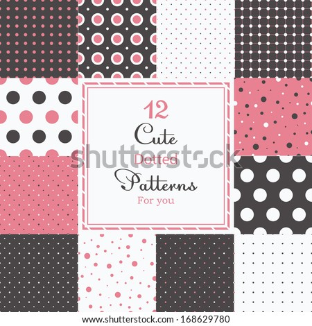 12 Cute different dotted vector seamless patterns (tiling). Polka dots set. Black, white and pink color. Endless texture can be used for printing onto fabric and paper or scrap booking.