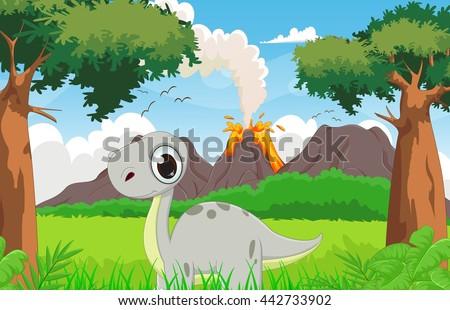 cute dinosaur cartoon with the