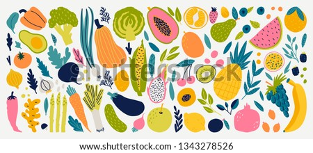 Cute doodle illustration with vegetables and fruits isolated on white background. Vector food set for your design.