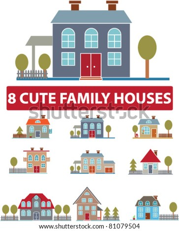 8 cute family houses, icons, signs, vector illustrations
