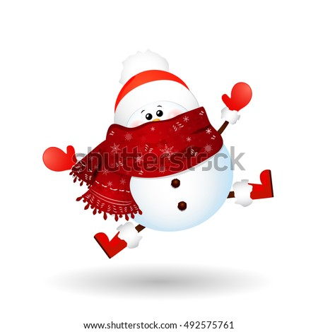 Stock Photo  Cute, funny  Snowman  feeling excited isolated on white background. vector cartoon illustration.