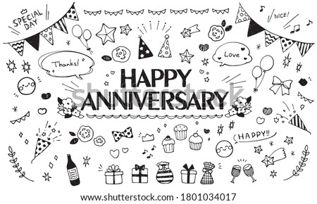 Cute hand drawn illustration set that can be used for anniversary Сток-фото ©