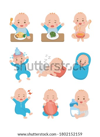 9 cute happy babies and their daily routines, set. Baby diapers, fever babies, sleeping babies, baby noodles, cartoon vector illustrations isolated