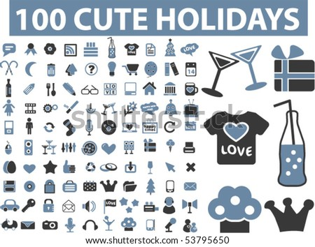 100 cute holidays signs. vector