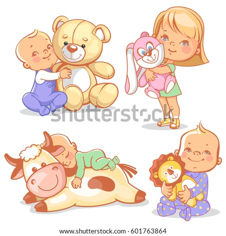 cute kids with plush toys. boy ...