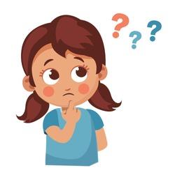 Cute little girl asking question. Cartoon vector illustration
